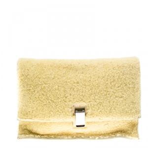 Proenza Schouler Yellow Shearling Small Lunch Bag