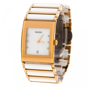 Rado White Mother of Pearl Gold Plated Steel Ceramic Integral Jubile R20791901 Women's Wristwatch 23 mm