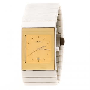 Rado Gold White Ceramica 01.152.0709.3.025 Women's Wristatch 27 mm