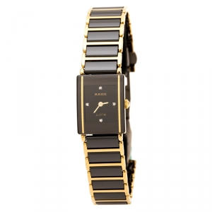 Rado Black Gold Plated Stainless Steel Titanium Ceramic Integral Jubilee 153.0383.3 Women's Wristwatch 18 mm