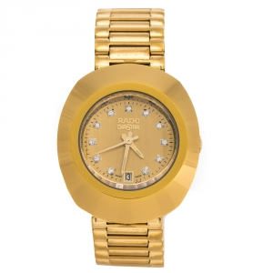 Rado Yellow Gold Tone Carbon Carbide Stainless Steel Diastar R12306303 Women's Wristwatch 27 mm