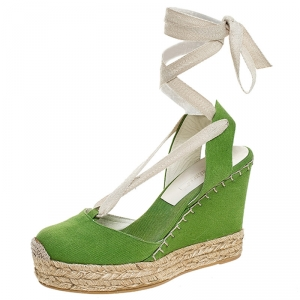 Ralph Lauren Collection Green Canvas Wedge Platform Ankle Wrap Sandals Size 39.5 - used