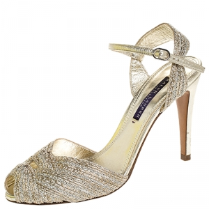 Ralph Lauren Collection Gold Textured Fabric Double Knot Peep Toe Ankle Strap Sandals Size 38 - used