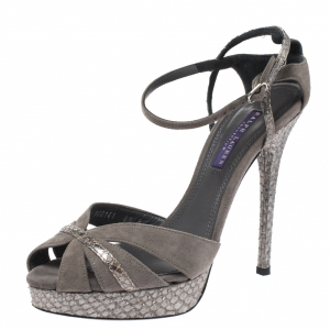 Ralph Lauren Collection Grey Suede And Python Jerala Ankle Strap Platform Sandals Size 38.5 - used