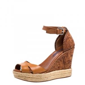 Ralph Lauren Brown Floral Leather Espadrille Wedge Platform Ankle Strap Sandals Size 39