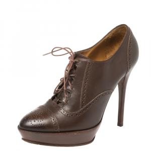 Ralph Lauren Brown Leather Brogue Platform Booties Size 38.5