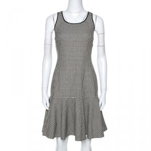 Ralph Lauren Monochrome Houndstooth Merino Wool Lexi Dress M