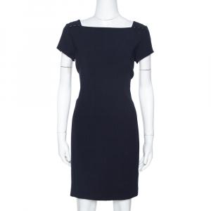 Ralph Lauren Midnight Blue Stretch Wool Ilario Shift Dress M