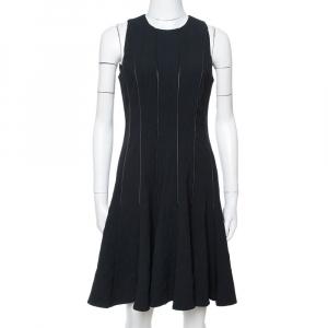 Ralph Lauren Black Wool Leather Paneled Flared Clarissa Dress M