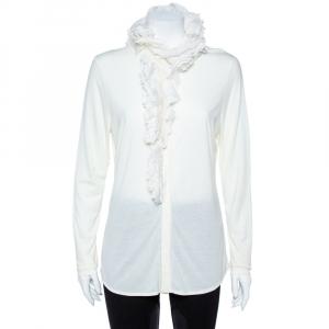 Ralph Lauren Cream Stretch Knit Evelyn Ruffle Blouse L