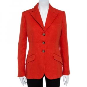 Ralph Lauren Coral Red Linen Tweed Middleton Blazer L