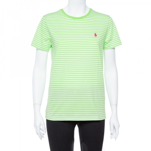 Ralph Lauren Lime & White Cotton Jersey Striped T-Shirt L