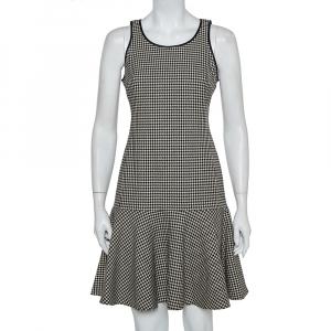 Ralph Lauren Monochrome Houndstooth Merino Wool Lexi Dress S