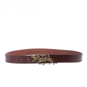 Ralph Lauren Brown Leather Polo Match Buckle Belt 105 CM