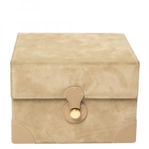 Ralph Lauren Beige Suede Small Brooke Jewellery Box