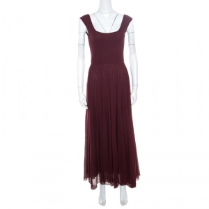 Ralph Lauren Burgundy Cotton Knit Sleeveless Fit and Flare Maxi Dress XS - used