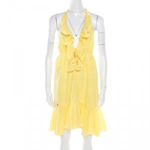 Ralph Lauren Yellow Crinkled Cotton Ruffled Halter Sundress M - used