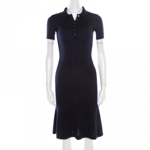 Ralph Lauren Navy Blue Cashmere and Silk Knit Polo Midi Dress XS - used