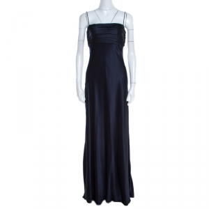 Ralph Lauren Midnight Blue Silk Pleated Bandeaux Bodice Evening Gown S - used