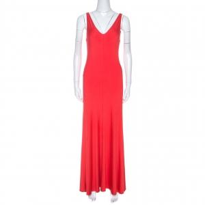 Ralph Lauren Coral Pink Jersey Sleeveless Jenny Maxi Dress M - used