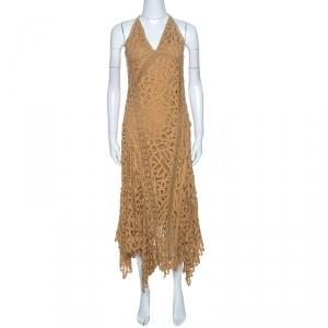 Ralph Lauren Tan Brown Silk Lined Lace Halter Dress M - used