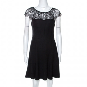 Polo by Ralph Lauren Black Crepe Lace Trim Detail Dress S - used