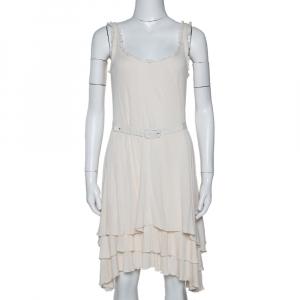 Ralph Lauren Cream Silk & Cotton Knit Sleeveless Dress M - used