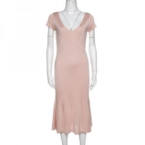 Ralph Lauren Pink Silk Knit Midi Dress M
