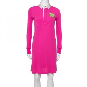 Ralph Lauren Pink Jersey Logo Crest Detail Polo Dress XS - used