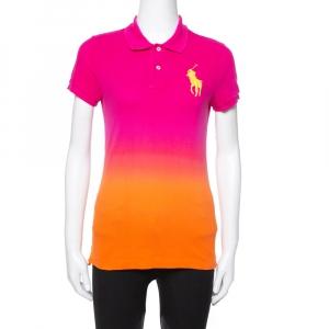 Ralph Lauren Pink Ombre Cotton Pique Skinny Polo T-Shirt M