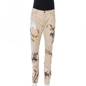 Ralph Lauren Beige Equestrian Print Cotton Thompson 650 Pants M