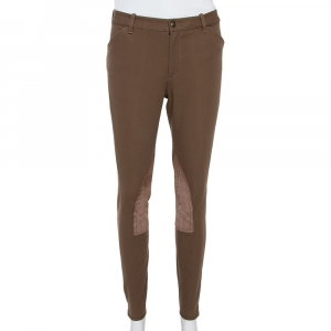 Ralph Lauren Brown Stretch Cotton Leather Patch Trousers M