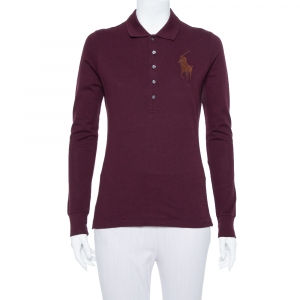 Ralph Lauren Burgundy Pique Knit Long Sleeve Polo T Shirt M