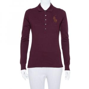 Ralph Lauren Burgundy Pique Knit Long Sleeve Polo T Shirt M