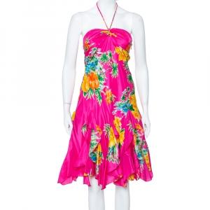 Ralph Lauren Magenta Tropical printed Silk Halter Neck Mini Dress S - used