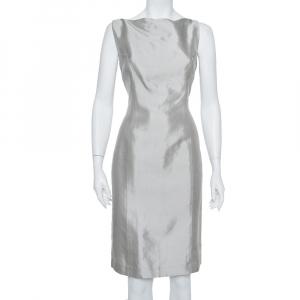Ralph Lauren Silver Cotton Sleeveless Sheath Dress M used