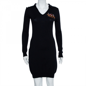 Ralph Lauren Navy Blue Wool Collared Logo Embroidered Midi Dress L - used