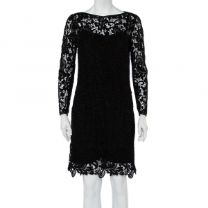 Ralph Lauren Black Lace & Leather Trim Merrill Dress M - used