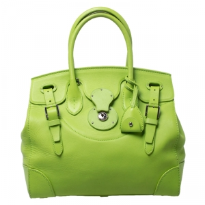 Ralph Lauren Neon Green Leather Ricky Tote