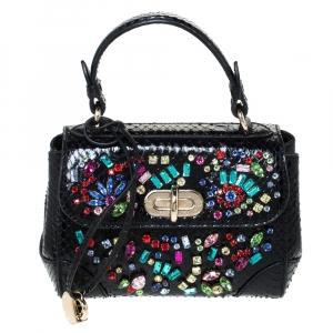 Ralph Lauren Black Python Mini Tiffin Crystal Embellished Top Handle Bag