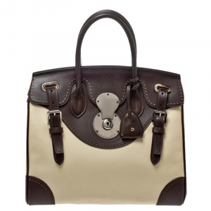 Ralph Lauren White/Brown Leather Brogues Ricky Tote
