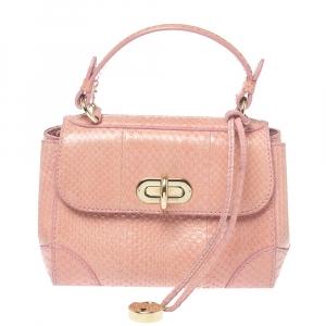 Ralph Lauren Pink Snakeskin Mini Tiffin Top Handle Bag