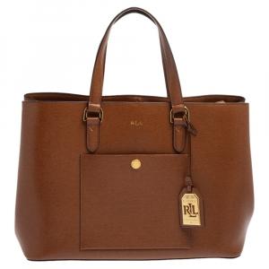 Ralph Lauren Brown Leather Front Pocket Tote