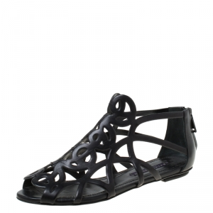 Ralph Lauren Collection Black Leather Cut Our Flat Sandals Size 37 - used