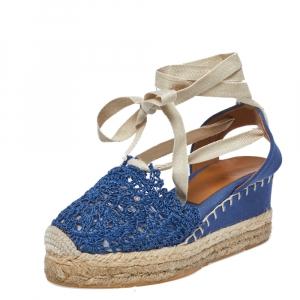 Ralph Lauren Blue Crochet Fabric Uma Espadrille Wedge Ankle Wrap Platform Sandals Size 38 - used