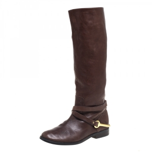 Ralph Lauren Brown Leather Knee Length Boots Size 35.5 - used