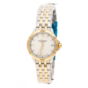 Raymond Weil White Mother of Pearl Two-Tone Stainless Steel Tango 5960 Women's Wristwatch 30 mm