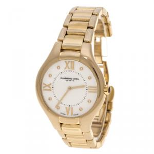 Raymond Weil White Mother of Pearl Gold Plated Stainless Steel Noemia 5136 Women's Wristwatch 36 mm