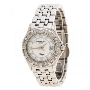Raymond Weil White Mother of Pearl Stainless Steel Diamond Tango 5390 Women's Wristwatch 28 mm
