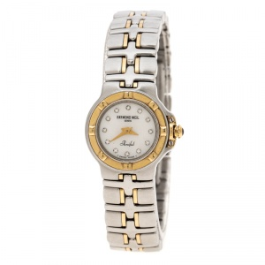Raymond Weil White Mother of Pearl Stainless Steel Parsifal 9690/1 Women's Wristwatch 22 mm